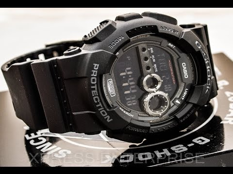 Casio GSHOCK GD100-1B REVIEW   How To Set Time   LIGHT DISPLAY