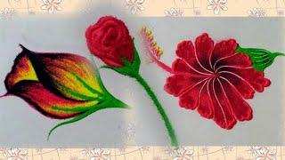 तीन आकर्षक फुलांचे डिझाईन by Jyoti Raut Rangoli