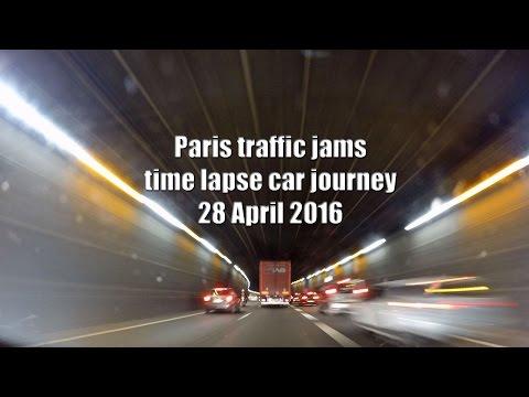 gopro time lapse car journey Market Harborough England - Beziers France 3 Paris traffic jam