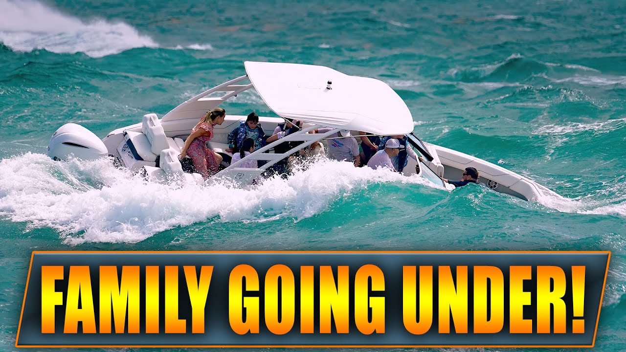WARNING: FAMILY IN TROUBLE AT HAULOVER INLET ! | BOAT TAKES ON TOO MUCH WATER ! | WAVY BOATS