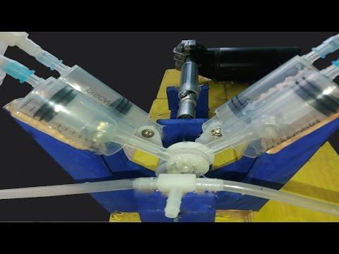 How to make a powerful air compressor V4 using a syringe.