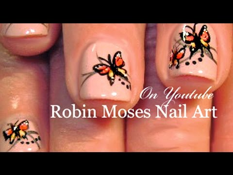 Easy Butterfly Nail Art on Short Nails | Monarch Nails Design Tutorial