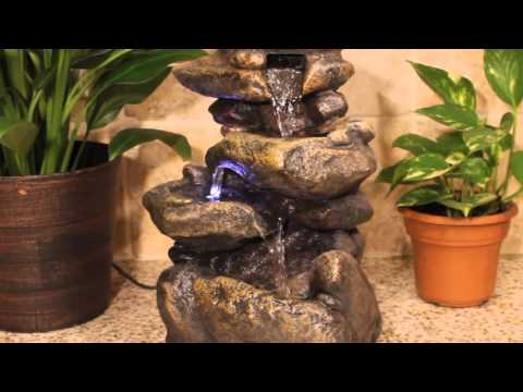 Rock Stone LED Indoor Tabletop Water Fountain