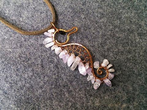 copper seahorse pendant with gravel stones -  DIY wire jewelry 153