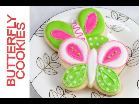 Pretty Lime  Green and Hot Pink Butterly Cookies Tutorial, Decorating with Royal Icing
