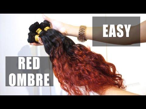 HAIR| How to Dye Bundles: RED Ombré - WowAfrican