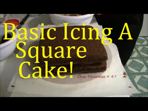 Basic Icing A Square Double Layer Chocolate Cake.