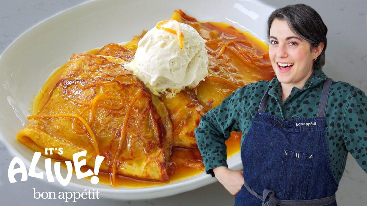 Claire Makes Sourdough Crêpes Suzette   It's Alive   Bon Appétit