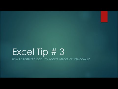 Excel Tip # 3  - How to restrict the cell to accept integer or string value