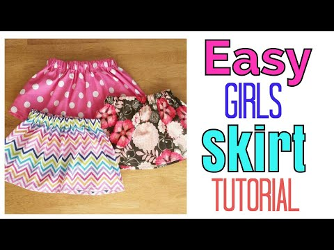 EASY GIRL SKIRT TUTORIAL | ELASTIC SKIRT | LITTLE GIRL CLOTHES