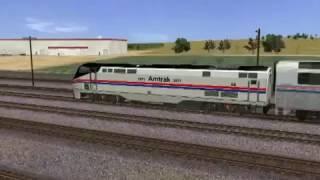 Trainz: A New Era - Amtrak train departs Highland Valley