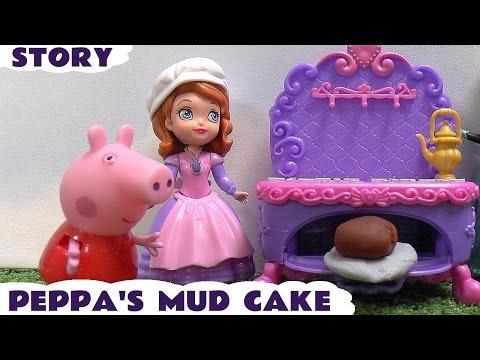 Peppa Pig Play Doh Mud Cake Episode Thomas and Friends Disney Princess Sofia Frozen Anna Elsa