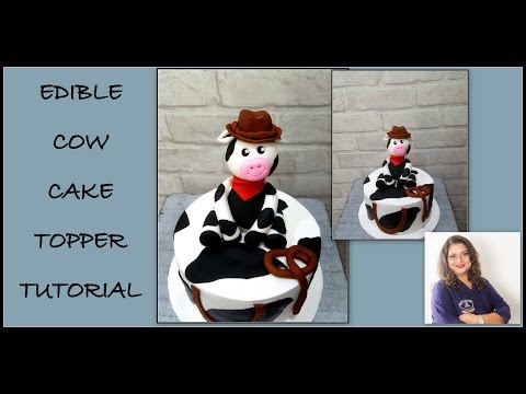 Edible cow cake topper tutorial- Fondant- Gumpaste- How to.
