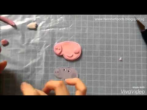How to make a Peppa Pig Fondant Topper - 2D Fondant Tutorial