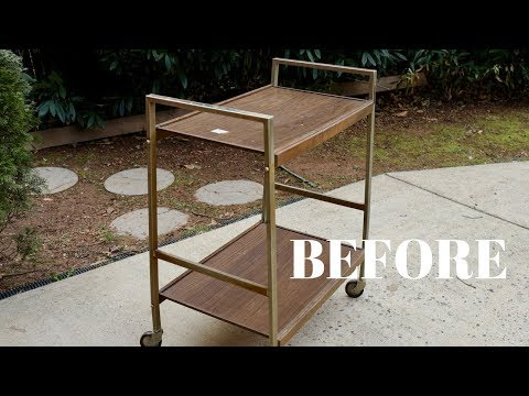Vintage Bar Cart Makeover From the Thrift Store: Furniture Makeover - Thrift Diving