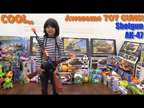 Shotgun and AK-47 Toy Guns w/ Lights and Sounds Unboxing & Playtime + Motorcycle Ride