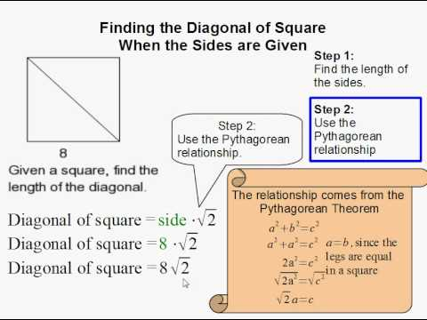 How to Find the Diagonal of a Square When the Sides are Given