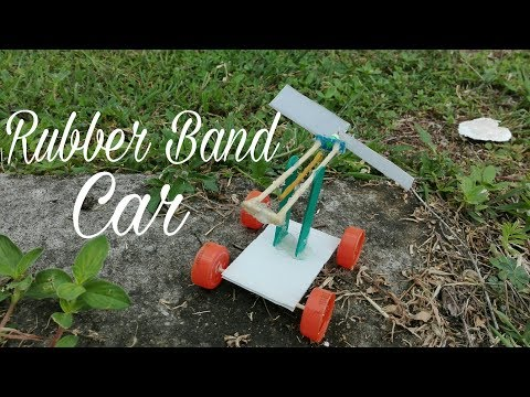 How to make a Rubber Band Powered Air Car.( diy rubber band car)