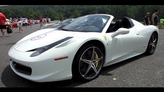 3 Ferrari 458 Spyder 1080p details red, white, and black