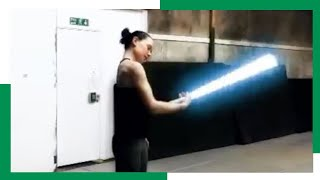 Daisy Ridley Lightsaber Training for The Last Jedi
