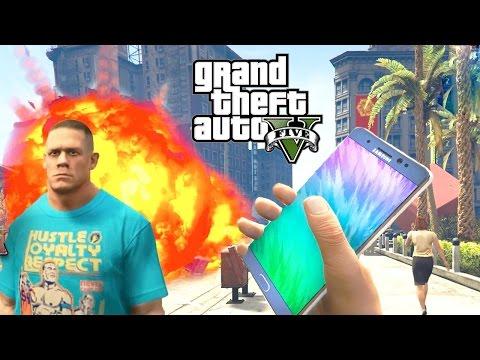 GTA 5 MOD WWE JOHN CENA Exploding Samsung Galaxy Note 7 as Bomb GTA 5 Note7 Mod