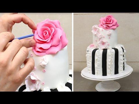 Easy Ruffle Cake How to Decorate with Fondant by CakesStepbyStep