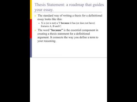Writing Definitional Arguments- Thesis Statements