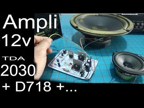 12v audio amplifier circuit, simple diagram using transistors D718 and TDA 2030