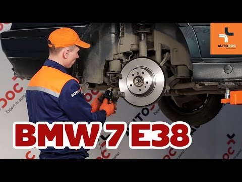 How to replace rear brake discs and brake pads BMW 7 E38 TUTORIAL | AUTODOC