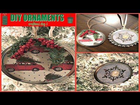 MASON JAR ORNAMENTS | CRAFTMAS DAY 5 | LID ORNAMENTS