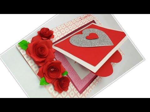 DIY 3D Flower POP UP card Valentine Card Greeting Card for Boyfriend,Handmade Love Cards Tutorial