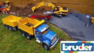 BRUDER RC tractor, truck and excavator action - hole digging!