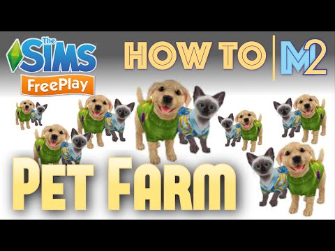 Sims FreePlay - How to Make a Pet Farm with Puppies & Kittens (Tutorial & Walkthrough)