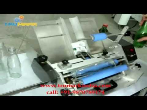 table top SEMI AUTO WET GLUE LABELLING MACHINE, WET GLUE LABELLER FOR ROUND BOTTLES