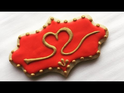 How To Decorate Valentine's Day Cookies With Gold Royal Icing