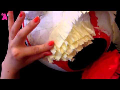 Pinatas - adding wrinkled crepe paper