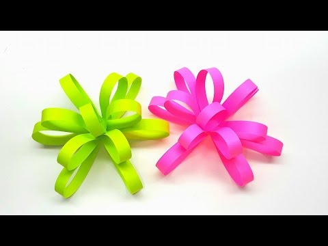 How to make Paper Beautiful Flower Bow very easy - Crafts