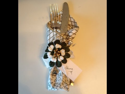How to make a Napkin place card for New year table decoration with WOC beautiful flowers