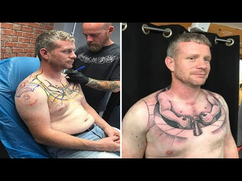 Trucker's mini-me tattoo of a tiny man driving on his chest has gone viral