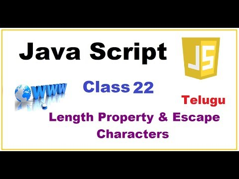 What is Length Property and Escape Characters in Javascript   --   Telugu 21-vlr training