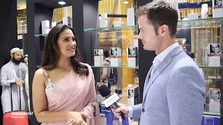 Lara Dutta launches 'Arias' with Scentials at Beautyworld Middle East 2019