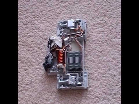 How does an electrical circuit breaker work. Mcb inside view.