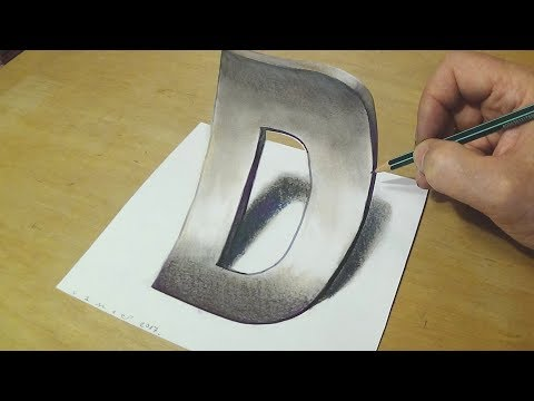 How to Draw 3D Letter - Trick Art Drawing - Anamorphic Illusion for Kids & Adults