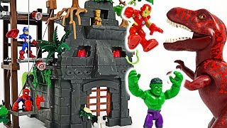 Avengers Hulk, Iron Man! Let's go into Temple guarded by T-rex dinosaurs! #DuDuPopTOY