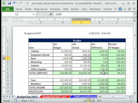 Law Class Excel #1: Create Comparative Budget - Jessica's Law Class