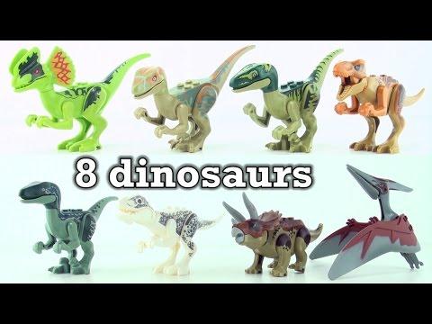 8 lego dinosaurs from Jurassic world - Tyrannosaurus Velociraptor Indominus Rex Triceratops