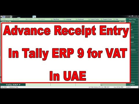 How to Pass VAT Return on Advance Receipt Entry in Tally ERP 9