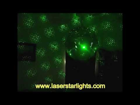 Green Laser Star Lights with Disco Ball ~ Projector Shines on Mirror Ball