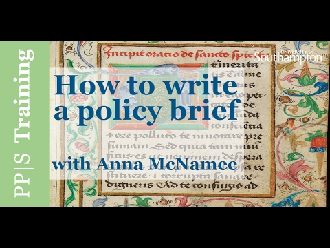 Policy Training - How to write a policy brief
