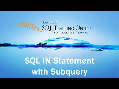 How to use the SQL In Statement with Subquery - SQL Training Online